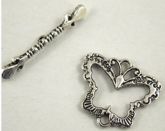Butterfly Toggle Clasp/Connector/Charm- Antique silver plated-3 sets (MW BT)