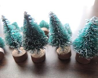 miniature bottle brush christmas tree collection four flocked tiny trees Christmas diorama