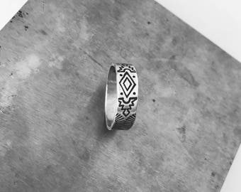 Handmade Native Ring Band | Hand Stamped Fat n Matte Band | Native American Navajo Style | Perfect Sterling Silver Thumb Ring