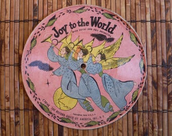 Vintage 1940's Child's Picture Record - Joy To The World Auld Lang Syne Picture Record - Record Guild of America Record - '40's X-mas Decor