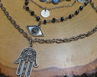 Hamsa & Evil Eye Multi-Layered Necklace
