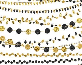 Instant Download Gold and Black Wedding Clipart Set, Instant Digital Download, Commerical Use String Light Clip Art