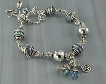 Lampwork Sterling Silver Wire Wrapped Bracelet-KTBL