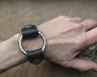 Black Metal Cuff/PUNK Cuff/UNISEX Bracelet/Black Leather Handmade Cuff with Large Nickel Ring