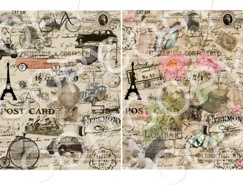 Instant Download - Vintage Collage Papers  - Printable Digital Collage Sheets - Digital Download -