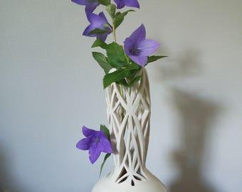 White porcelain trellis vase