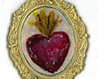 Handpainted Flaming Heart Charm