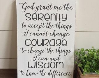 Serenity Prayer Wood Sign, God Grant Me the Serenity, Christian Wall Art, Farmhouse Decor, Shiplap, 11x16, AA, 12 Steps, Recovery Sign