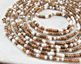 Antique Seed Bead Necklace, Copper Brown White Glass Bead Necklace, Long Beaded Flapper Necklace, 1920 Art Deco Great Gatsby Antique Jewelry