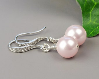 Blush Pink Pearl Earrings - Pearl Bridesmaid Earrings Swarovski - Pearl Bridal Earrings - Pink Pearl Drop Earrings - Bridesmaid Jewelry