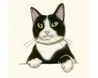 Tuxedo Cat Art Print - Velvet Paws - 4 X 6 PRINT - 4 for 3 SALE