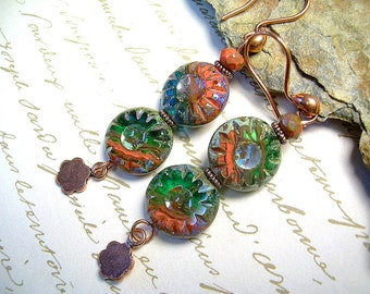 Boho Style Earrings With Czech Glass Beads And Copper, Orange And Green Dangle, Hippy