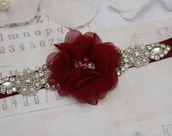 Wedding belt- Wine flower girl belt, bridesmaid belt, flower belt wedding sash, sash belt, crystal rhinestone belt, dress belt