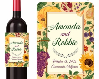 Autumn Wedding Wine Labels Personalized Grapes and Sunflowers Custom Designer Labels Waterproof Vinyl 3.5 x 5 inch