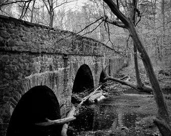 Stone Arch Bridge, Black and White Photography, Bucks County Art, Black and White Art, Canvas Wall Art, Wall Art, Home Decor, Print