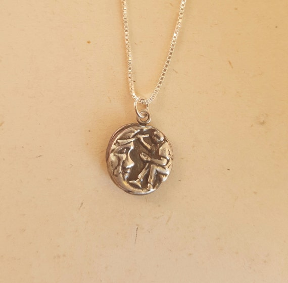 Moon Pendant Artist Painting the moon  .999 fine silver with sterling chain 18""