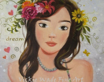 Teen Girl Art Print, teenage girl, pretty girl, brunette hair, flowers in her hair, teen girls room, daughters room, dream, Vickie Wade art