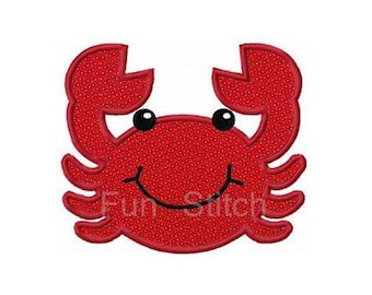 Crab applique machine embroidery design