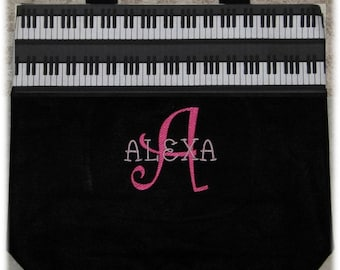 Pretty 'n Pink PIANO personalized music lesson book bag kids back to school bag black canvas tote embroidery recital birthday gift idea