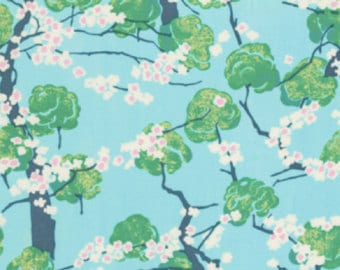"""ROLL END 40% off, 48"""" long, 56"""" wide,  Laminated cotton aka oilcloth fabric, Westminster Fiber Amy Butler Fairy Tale Cottage Sky"""