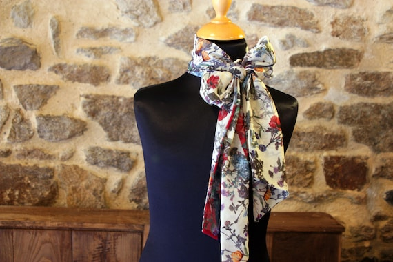 Scarf Long, Ascot, tie, women bow tie floral multicolor floral yellow red viscose veil.