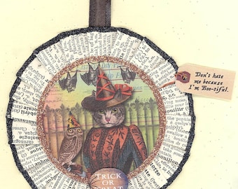 Kitty Cat | Grey Tabby Witch | Halloween Ornament | Halloween | Vintage Style
