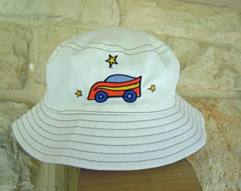 Baby Boy BUCKET SUN HAT with embroidered  Race Car-Size 6-18 Months-Boy's Sun Hat with  Chin Strap