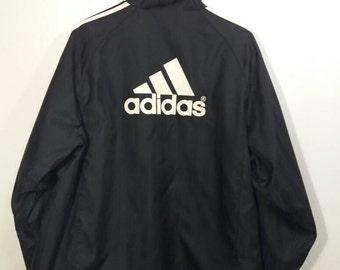 Vintage Adidas three stripe/zipper trainer/spellout big logo/black/medium/hiphop/streetwear
