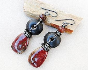 Artisan Earrings, Red Creek Jasper, Agate, Wood, Niobium, Nonallergenic, Rustic, Assemblage, Black, Dark Red, Brown, Handmade, Gift for Her