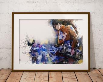 Levi Ackermann Shingeki no Kyojin Poster AoT Print Levi Mikasa Eren Armin Anime Watercolor Art Print, Anime Poster Watercolor Wall Art n327