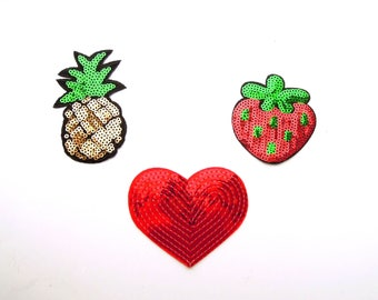 Set of 3 iron on patches - Sequin iron on patch trio - Garment iron on appliques - Iron on badges - Heart, Strawberry, Pineapple patch trio