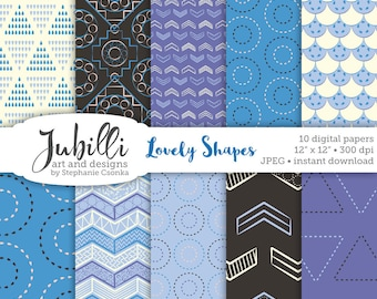 Geometric Digital Paper, 12x12 Digital Paper, Shapes digi, Patterns digi, Dotted digi, Triangle digi, Circle digi, scrapbook, papercrafting