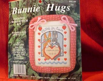 Country CROSS STITCH KIT -  Bunnie Hugs  - Wedding Sampler - Was 4.95