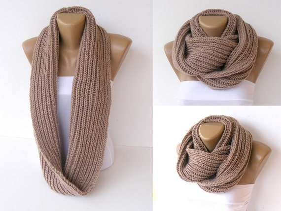 Knit Scarf , Beige Color Women Chunky scarf ,Women Acessories ,Knit  Infinity Scarf ,Men Scarf , Mom gifts ,For Her ,Mother's Day Gifts