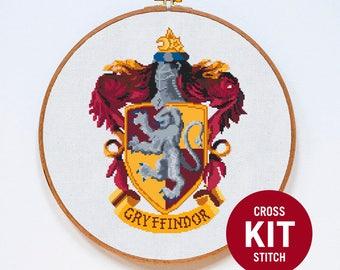 Gryffindor Cross Stitch Kit, Harry Potter Cross Stitch Kit, Modern Cross Stitch Kit, Modern Counted Cross Stitch Pattern Instructions