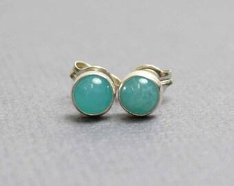 Amazonite Stud Earrings, Tiny Amazonite Earrings, Amazonite Earrings, 4mm Amazonite Earrings, Amazonite Jewelry,Kathy Bankston,Stud Earrings