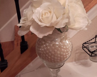 Ivory Roses & Pearls Centerpiece-Wedding-Tea party-Anniversary-Engagement-Shower-Gatsby-Roaring 20s