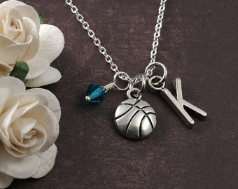 Basketball Necklace, Initial birthstone, Basketball Jewelry, Basketball charm, Silver Basketball pendant