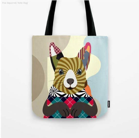 Squirrel Tote Bag, Animal Tote Decorative Squirrel Bag, Squirrel Lovers Gift Tote Bag, Animal Lovers Gift