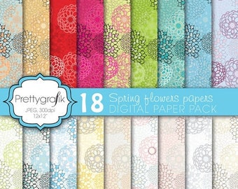 80% OFF SALE 18 flower digital paper, commercial use, scrapbook papers, background - PS578