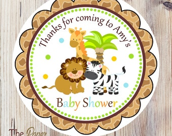 Safari Baby Shower Favor Tags, Printable Safari Hang Tags, Digital Safari Favor Tags, Jungle Baby Shower, DIY