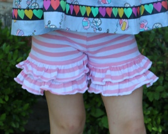 pink and white stripe knit double ruffle shorts shorties sizes 12m - 4