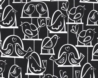 Half yard - Bird Swing in Black - Michael Miller cotton quilt fabric