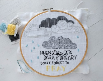 Hand Embroidery Pattern // Don't Forget to Pray  // DIY Hoop Art //