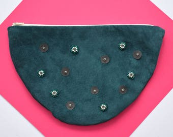Deep Lake Half Moon Embellished Pouch