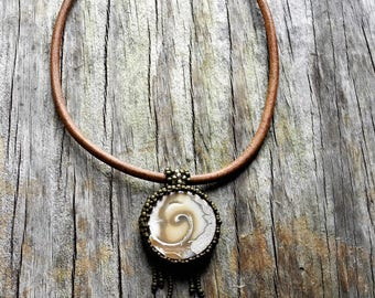 Beaded Cabochon Beaded Bale Necklace - Bead Weaving - Statement Necklace -  Ammonite Fossil Pendant - Leather Cord - BOHO