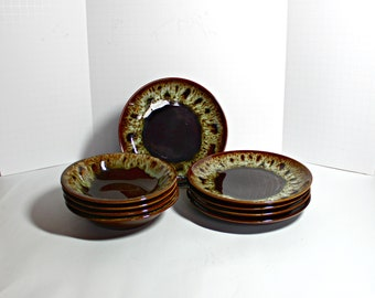 Set of 5 Brown Drip Dessert Plates and 4 Bowls,Brown Drip Dessert Plates,Brown Drip Pottery Bowls,Brown Pottery Dessert Plates,Drip Pottery