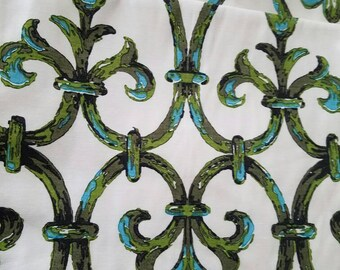 Vintage curtains blue and green Hollywood regency beach