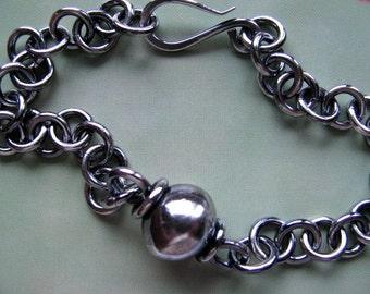 Unisex Sterling Silver Chain Bracelet, Men's Silver Bracelet, Handmade Jewelry, Heavy Chain and Link Bracelet