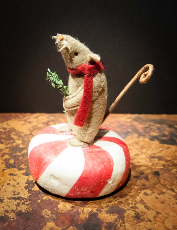 Vintage Holiday Peppermint Mouse with Green Sprig Candy Cane